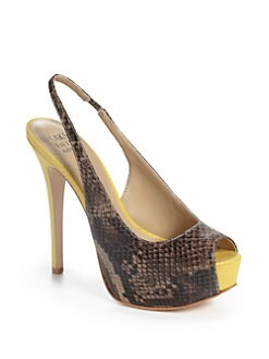 RED Saks Fifth Avenue - Paulina Lizard-Embossed Leather Slingback Platform Pumps