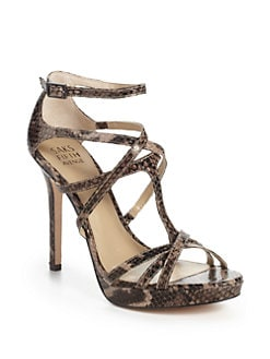 BLACK Saks Fifth Avenue - Austin Leather Snakeskin-Embossed Leather Strappy Sandals