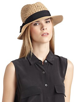 GRAY Saks Fifth Avenue - Ribbon-Trimmed Basketweave Straw Fedora