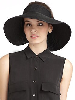 BLUE Saks Fifth Avenue - Floppy Ribbed Paper Straw Visor