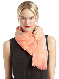 BLACK Saks Fifth Avenue - Striped Border Scarf/Orange