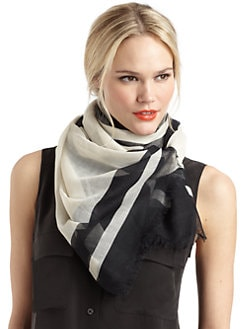 BLACK Saks Fifth Avenue - Striped Border Scarf/Black