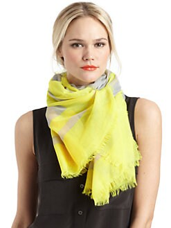 BLACK Saks Fifth Avenue - Striped Border Scarf/Yellow
