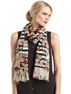 BLACK Saks Fifth Avenue - Floral Striped Scarf/Black