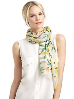 BLACK Saks Fifth Avenue - Floral Striped Scarf/Grey