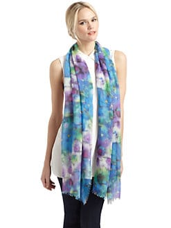 GRAY Saks Fifth Avenue - Watercolor Floral Scarf/Blue