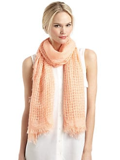 BLACK Saks Fifth Avenue - Grid-Knit Scarf/Peach