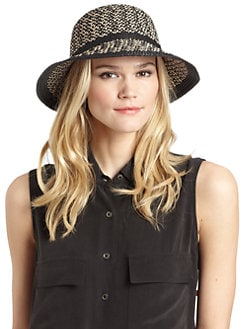 BLACK Saks Fifth Avenue - Straw Bucket Hat