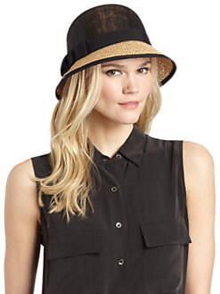 BLACK Saks Fifth Avenue - Ribbon-Trimmed Raffia & Straw Cloche Hat/Black & Tan
