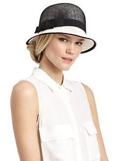 BLACK Saks Fifth Avenue - Ribbon-Trimmed Raffia & Straw Cloche Hat/Black & White