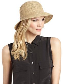 BLACK Saks Fifth Avenue - Metallic Straw Bucket Hat