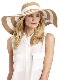 BLACK Saks Fifth Avenue - Striped Straw Floppy Hat