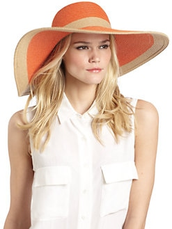 BLACK Saks Fifth Avenue - Two-Tone Straw Floppy Hat/Orange & Tan