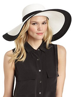 BLACK Saks Fifth Avenue - Two-Tone Straw Floppy Hat/Black & White