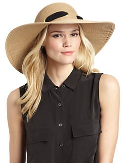 BLACK Saks Fifth Avenue - Scarf-Accented Straw Floppy Hat