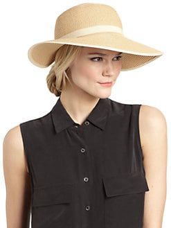 BLUE Saks Fifth Avenue - Ribbon-Trimmed Visor