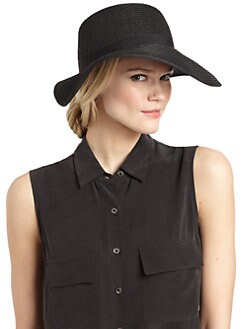 BLUE Saks Fifth Avenue - Ribbon-Trimmed Straw Visor/Black