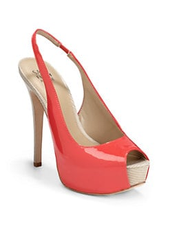 RED Saks Fifth Avenue - Paulina Patent Leather Slingback Platform Pumps