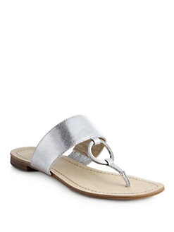 BLACK Saks Fifth Avenue - Gwyneth Metallic Leather Thong Sandals/Silver