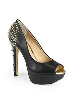 BLACK Saks Fifth Avenue - Hayden Leather Peep-Toe Platform Pumps