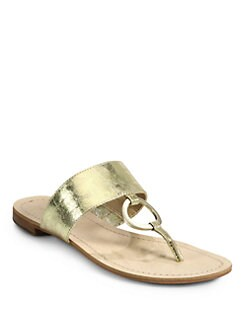 BLACK Saks Fifth Avenue - Gwyneth Metallic Leather Thong Sandals/Gold