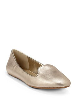 BLUE Saks Fifth Avenue - Brody Metallic Leather Smoking Slippers