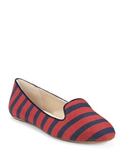 BLUE Saks Fifth Avenue - Brody Striped Canvas Smoking Slippers