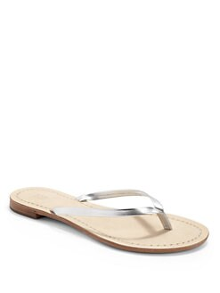 BLACK Saks Fifth Avenue - Metallic Faux Leather Thong Sandals