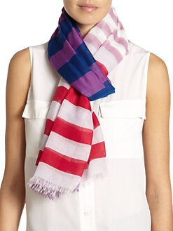 GRAY Saks Fifth Avenue - Striped Scarf/Purple & Blue