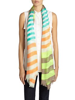 GRAY Saks Fifth Avenue - Striped Scarf/Green & Beige