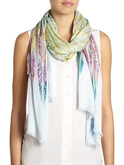 GRAY Saks Fifth Avenue - Feather-Print Scarf/Blue