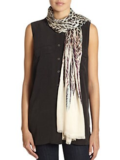 GRAY Saks Fifth Avenue - Feather-Print Scarf/Beige & Black