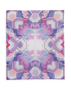 BLACK Saks Fifth Avenue - Abstract Geometric-Print Silk Chiffon Scarf/Purple