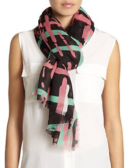 GRAY Saks Fifth Avenue - Paint Stroke Plaid Print Scarf/Lime