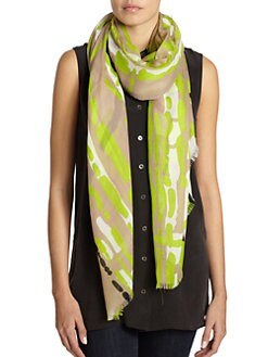 GRAY Saks Fifth Avenue - Paint Stroke Plaid Print Scarf/Black