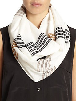 BLUE Saks Fifth Avenue - Daytime Weave Loop Scarf/White