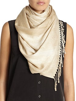 BLACK Saks Fifth Avenue - Metallic Fringe Scarf