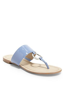 BLACK Saks Fifth Avenue - Gwyneth Patent Leather Thong Sandals