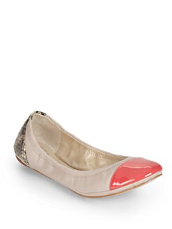 BLACK Saks Fifth Avenue - Randi Leather & Patent Leather Ballet Flats