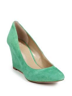 BLUE Saks Fifth Avenue - Astor Suede Wedge Pumps