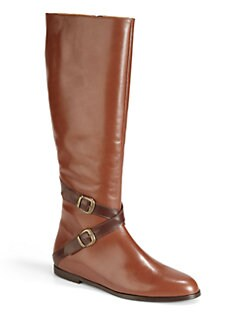 BLACK Saks Fifth Avenue - Katy Buckle Strap Leather Boots