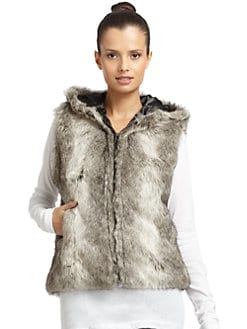 RED Saks Fifth Avenue - Faux Fur Hooded Rabbit Vest/Grey
