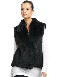 BLACK Saks Fifth Avenue - Long-Haired Rabbit Fur Vest/Spruce Green