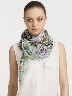 Etro - Silk Bombay Botanical Floral Scarf