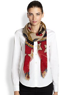 Tory Burch - Tapestry Square Wool Scarf