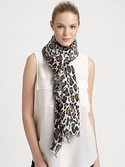 Stella McCartney - Leopard-Print Silk Blend Scarf