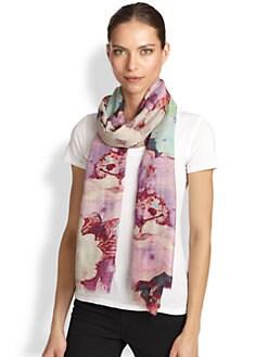 Bindya - Allover Floral Print Cashmere & Silk Scarf