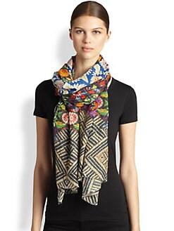Bindya - Folk Tradition Floral Cashmere & Silk Scarf