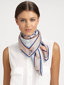 Emilio Pucci - Papillon Print Silk Twill Square Scarf