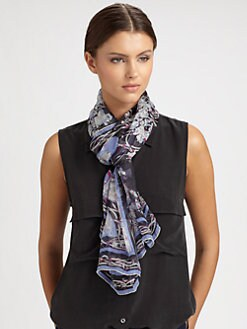 Emilio Pucci - Black Papillon Print Silk Scarf
